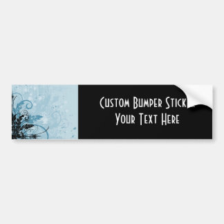Grunge Floral Design - Light Blue Car Bumper Sticker