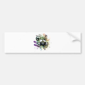 Grunge Floral Gas Mask2 Bumper Sticker