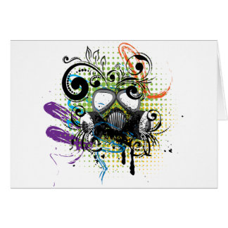 Grunge Floral Gas Mask2 Card