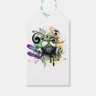 Grunge Floral Gas Mask2 Gift Tags