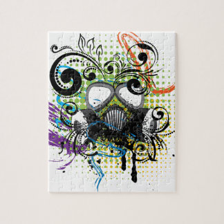 Grunge Floral Gas Mask2 Jigsaw Puzzle