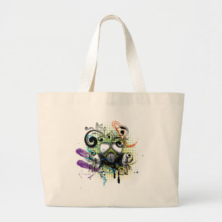 Grunge Floral Gas Mask2 Large Tote Bag