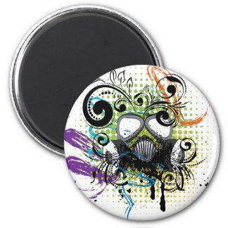 Grunge Floral Gas Mask2 Magnet