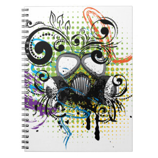 Grunge Floral Gas Mask2 Notebook