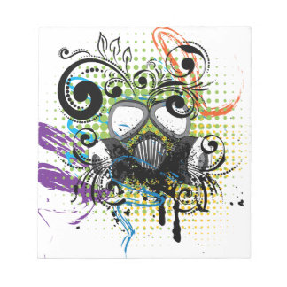 Grunge Floral Gas Mask2 Notepad