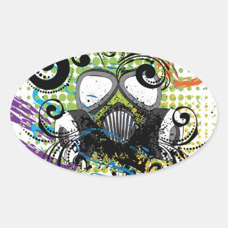 Grunge Floral Gas Mask2 Oval Sticker