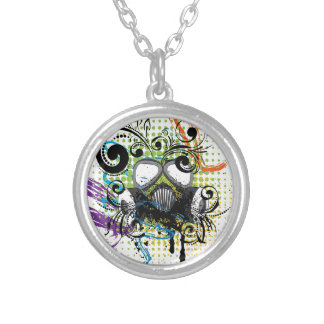 Grunge Floral Gas Mask2 Silver Plated Necklace