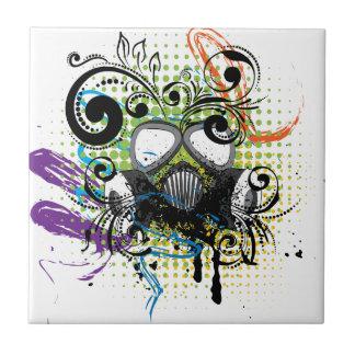 Grunge Floral Gas Mask2 Tile