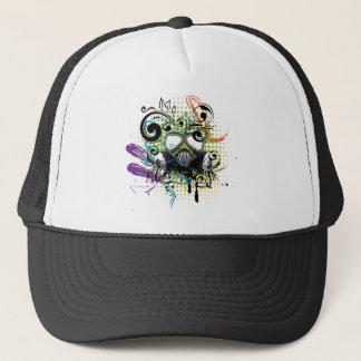 Grunge Floral Gas Mask2 Trucker Hat