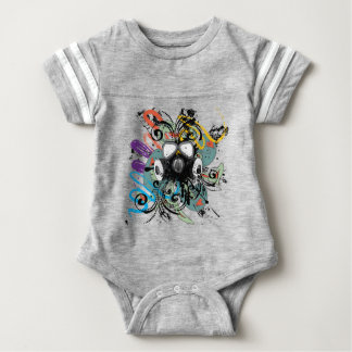 Grunge Floral Gas Mask Baby Bodysuit
