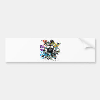 Grunge Floral Gas Mask Bumper Sticker