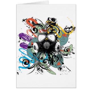 Grunge Floral Gas Mask Card