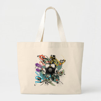 Grunge Floral Gas Mask Large Tote Bag