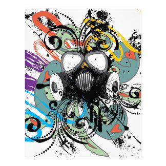 Grunge Floral Gas Mask Letterhead