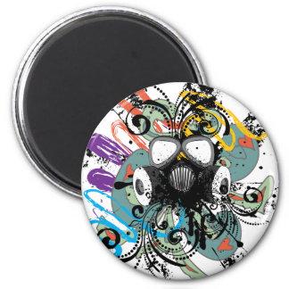 Grunge Floral Gas Mask Magnet