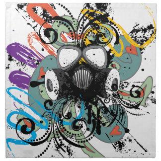 Grunge Floral Gas Mask Napkin
