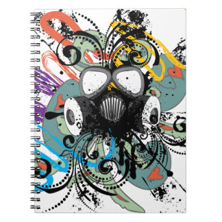 Grunge Floral Gas Mask Notebook