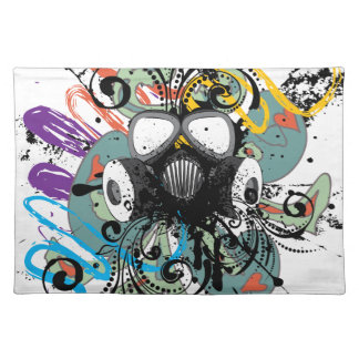 Grunge Floral Gas Mask Placemat