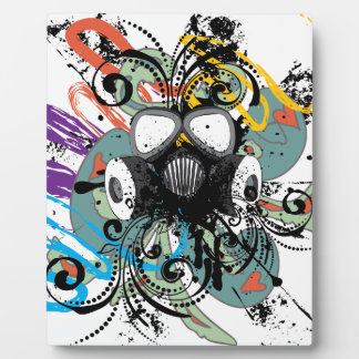 Grunge Floral Gas Mask Plaque