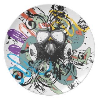 Grunge Floral Gas Mask Plate