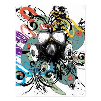 Grunge Floral Gas Mask Postcard