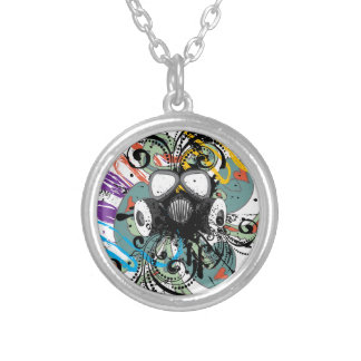 Grunge Floral Gas Mask Silver Plated Necklace