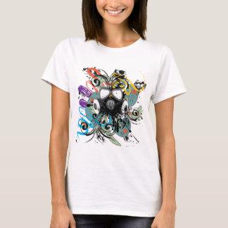 Grunge Floral Gas Mask T-Shirt