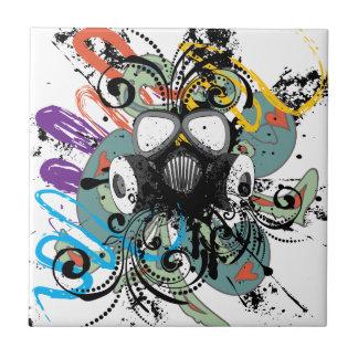 Grunge Floral Gas Mask Tile