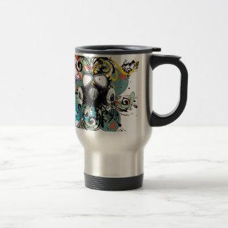 Grunge Floral Gas Mask Travel Mug