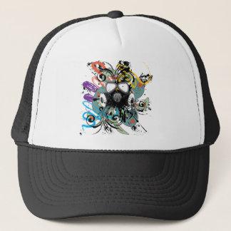 Grunge Floral Gas Mask Trucker Hat