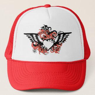 grunge floral heart trucker hat