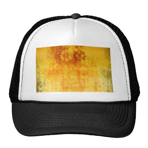 grunge floral pattern mesh hats