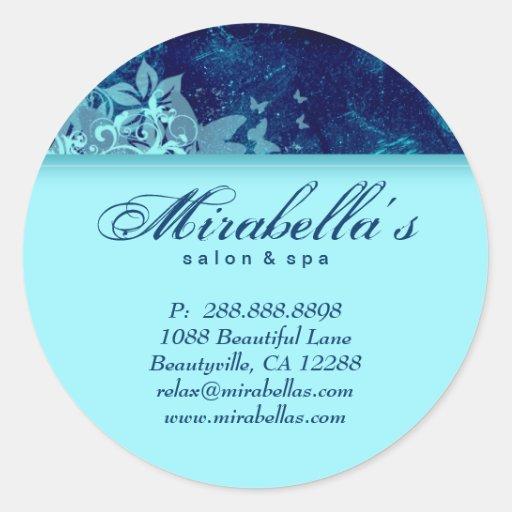 Grunge floral sticker salon spa blue denim 2