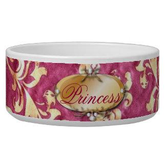 grunge floral Victorian Gold Burgundy damask Dog Food Bowl