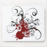 Grunge florale rouge de KRW Tapis De Souris