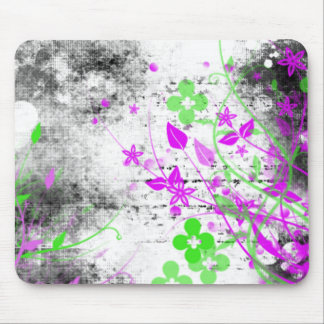 Grunge Flowers Mouse Pad