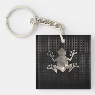 Grunge Frog Double-Sided Square Acrylic Keychain