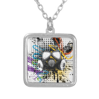 Grunge Gas Mask3 Silver Plated Necklace
