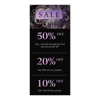 Grunge Glitter Salon Black Purple Promo Card