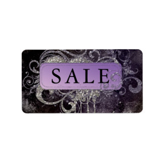 Grunge Glitter Salon Black Purple Sale Address Label