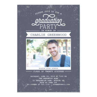 Grunge Graduation Party Invitation With Photo