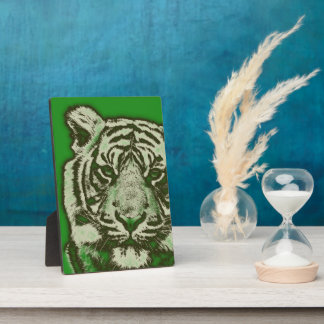Grunge Green Abstract Tiger Display Plaques