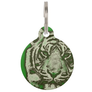 Grunge Green Abstract Tiger Pet Nametags