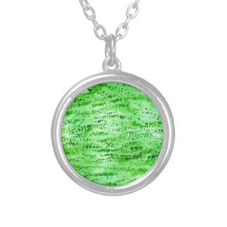 Grunge Green Background Silver Plated Necklace