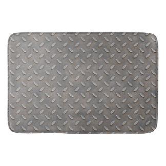 Grunge Grey Metal Tread Pattern Bath Mat