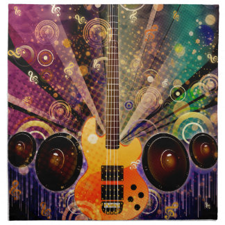 Grunge Guitar with Loudspeakers 2 Napkin
