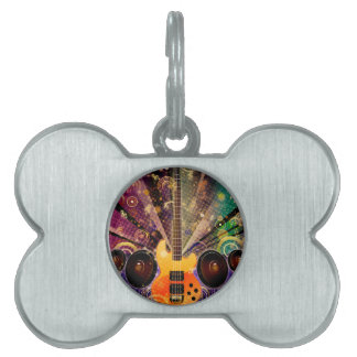Grunge Guitar with Loudspeakers 2 Pet ID Tag
