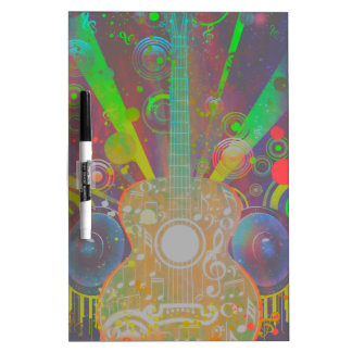 Grunge Guitar with Loudspeakers Dry Erase Board