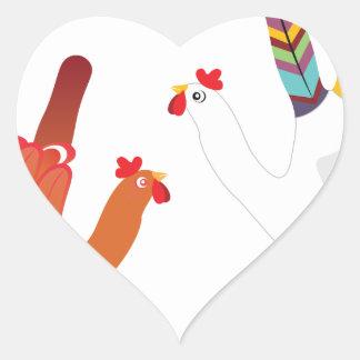 Grunge Hand Chicken3 Heart Sticker