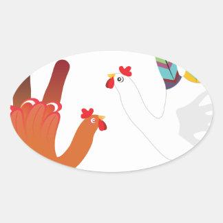 Grunge Hand Chicken3 Oval Sticker
